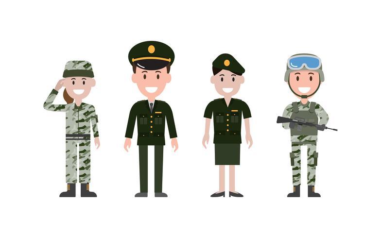 Homem e mulher militar pessoas ou pessoal vestido de vário uniforme.