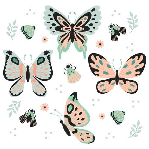 Ornamento dell'acquerello Farfalle, insetto, foglie e fiore Elemento vettore