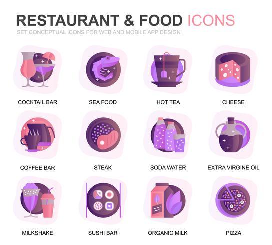 Restaurant moderne et icônes de plats dégradé alimentaire pour site Web et applications mobiles. Contient des icônes telles que restauration rapide, menu, fruits biologiques, café. Icône plate couleur conceptuelle. Pack de pictogrammes de vecteur.