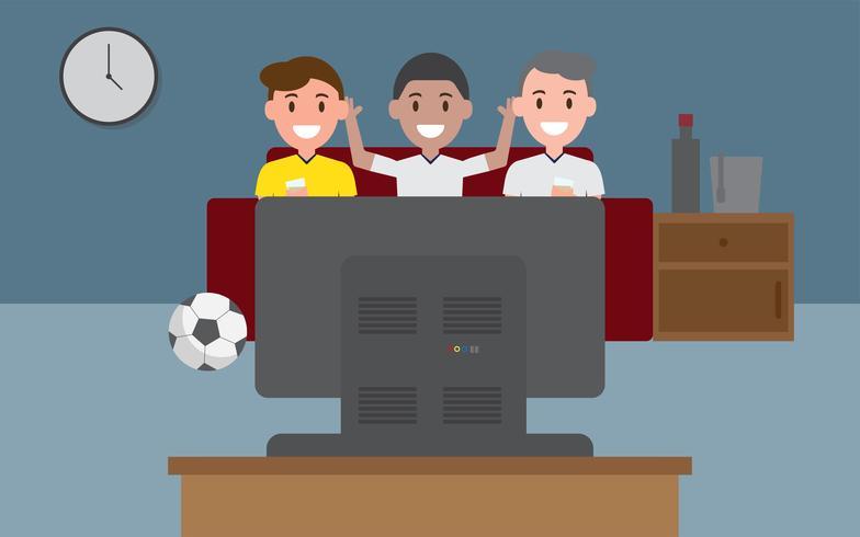 Pessoas assistindo esportes na tv, mostrando emoção. Bola de futebol ou futebol.