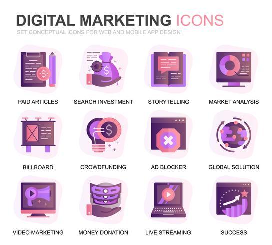 Set moderno icone piane di affari e di marketing per applicazioni per siti Web e dispositivi mobili. Contiene icone come strategia digitale, soluzione globale, mercato. Icona piana di colore concettuale. Pacchetto di pittogrammi vettoriale.