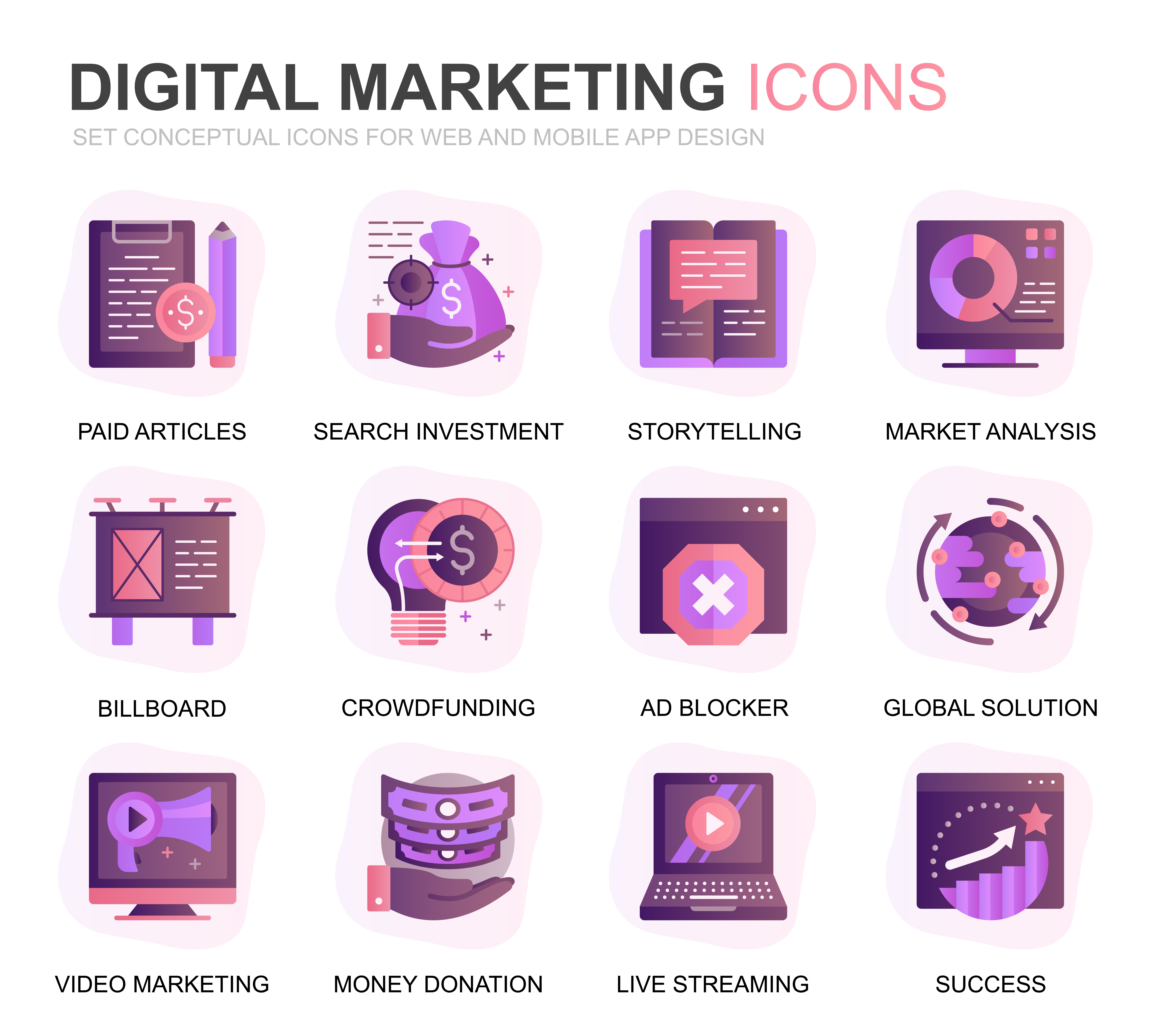 Modern Set Business and Marketing Gradient Flat Icons for ...