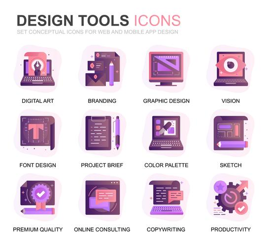 Modern Set Design Tools Gradient Flat Icons for Website and Mobile Apps. Contains such Icons as Creative, Developing, Precision, Vision, Sketch. Conceptual color flat icon. Vector pictogram pack.