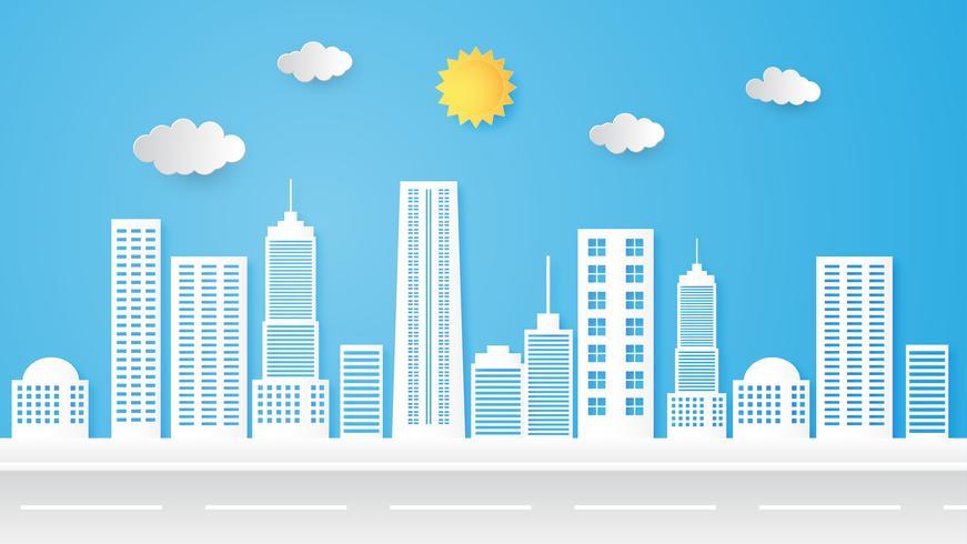 Ilustración del paisaje urbano, edificio y horizonte, paisaje urbano.