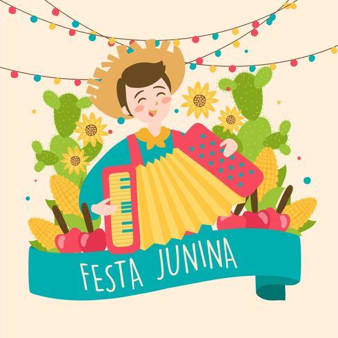 Dibujado a mano Festa Junina Brasil Festival de junio. Vacaciones de folklore. vector