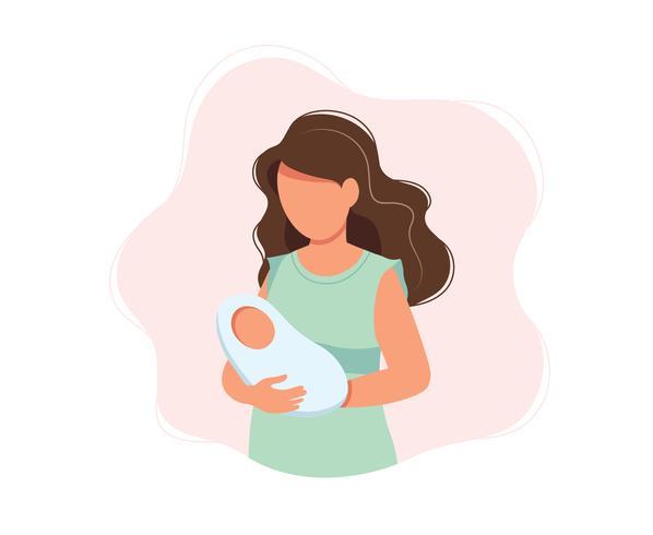 Femme tenant un bébé nouveau-né, illustration vectorielle concept style mignon, santé, soins, maternité