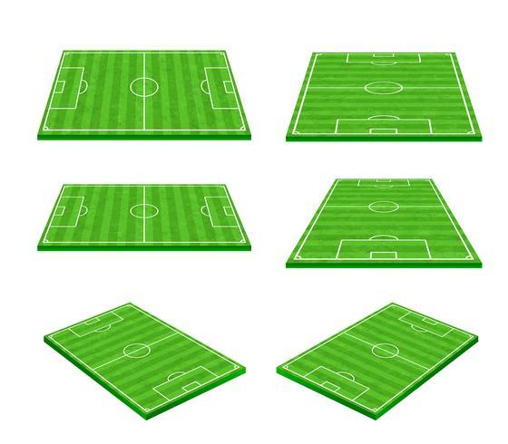 Green soccer field on white background 002 vector