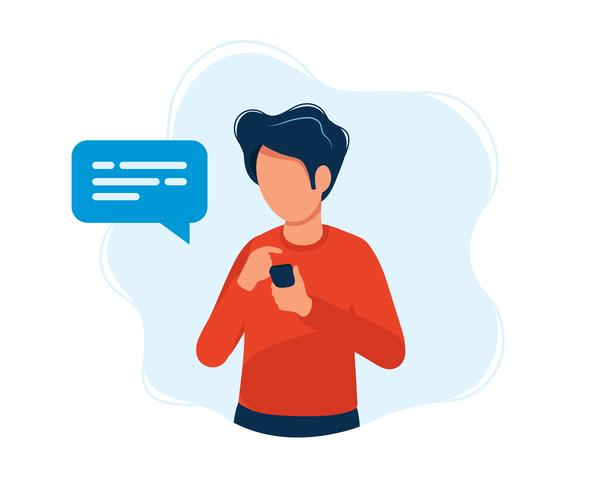 Man with smartphone. Bright colorful vector illustration.