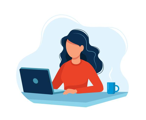 Woman working with computer. Bright colorful vector illustration.