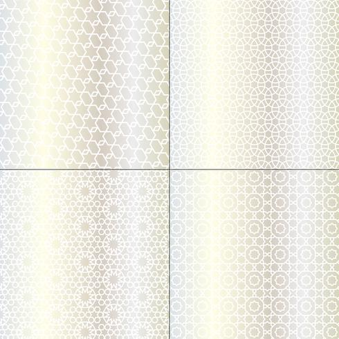witte en metallic zilveren Marokkaanse patronen