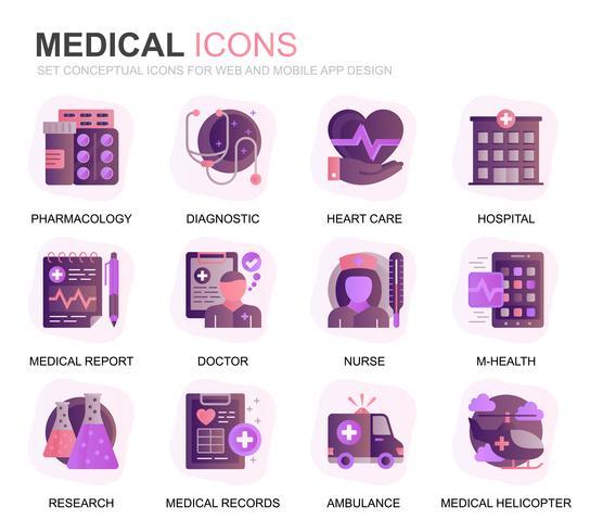 Modern Set Healthcare e Medical Gradient Flat Icons para o site e aplicativos móveis. Contém ícones como Ambulância, Primeiros Socorros, Pesquisa, Hospital. Ícone plana de cor conceitual. Pacote de pictograma de vetor.