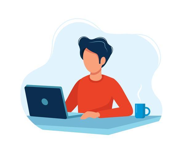 Homem que trabalha com o computador. Ilustração vetorial colorido brilhante. vetor