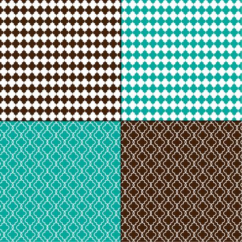 brown and turquoise blue Moroccan geometric patterns