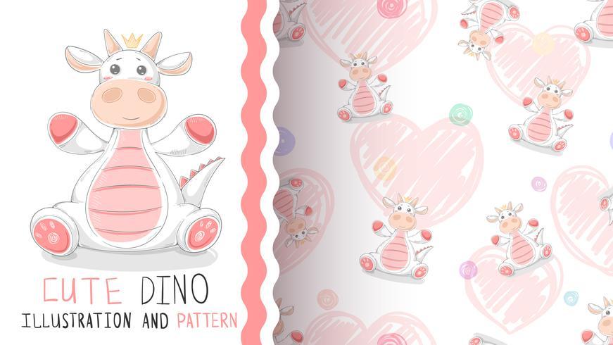 Happy Birthday dinosaur - seamless pattern vector