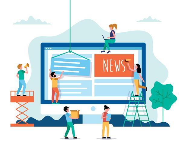 Nieuws, internet nieuws concept illustratie in vlakke stijl. Mensen die werken op de website.