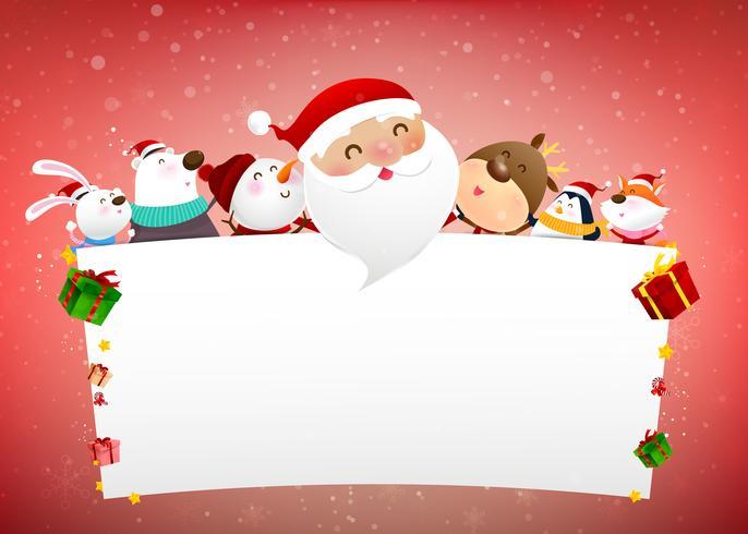 Navidad muñeco de nieve Papá Noel y dibujos animados de animales sonríen con nieve cayendo fondo 004