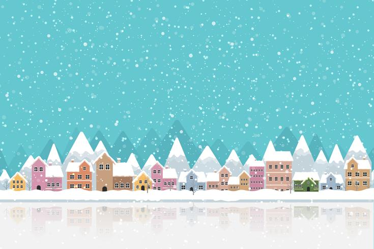 Winter town flat style with snow falling and mountain 002 vector