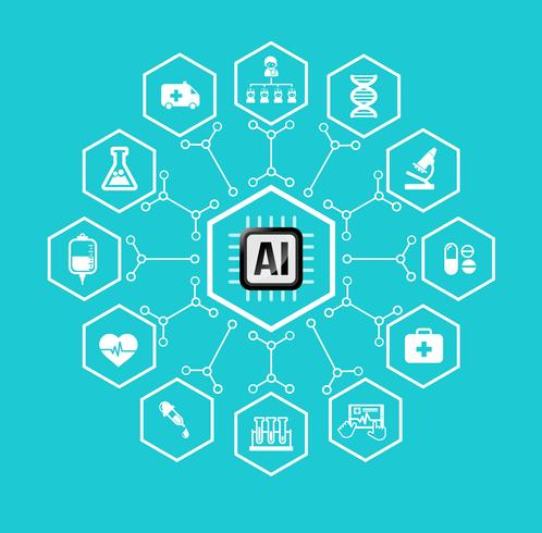 AI Kunstmatige intelligentie Technologie voor gezondheidszorg en medische pictogram en ontwerpelement