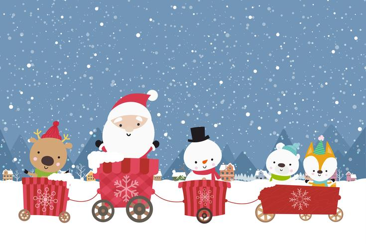 Happy Cute Santa snowman christmas cartoon in the  cart 001
