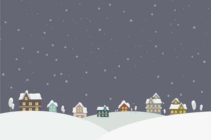 La ciudad en la nieve cayendo ilustración vectorial de lugar