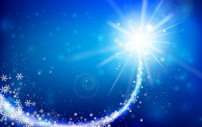 Winterschneeflocke, die mit dem Funkeln fällt und über blauem abstraktem Hintergrund für Winter und Weihnachten mit Kopienraum und Vektorillustration 002 beleuchtet vektor