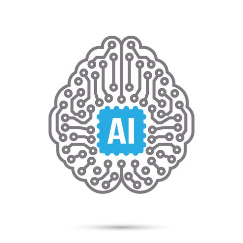 AI Artificial intelligence Technology circuit brain symbol icon vector