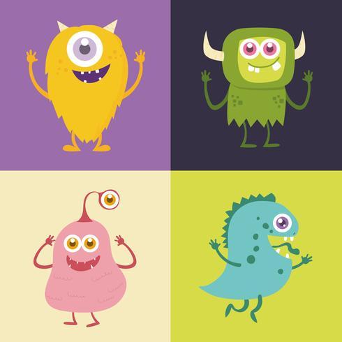 Ensemble de personnage de dessin animé de monstre mignon 001