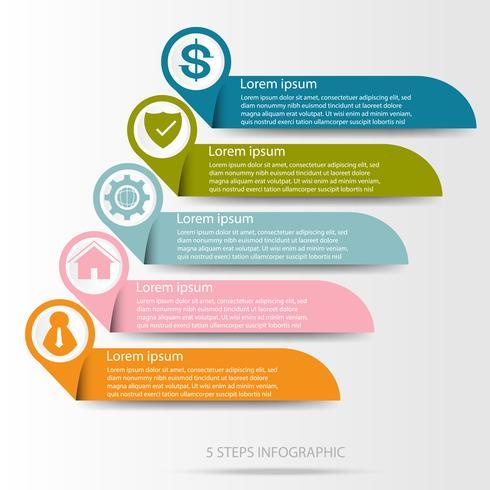 Infographie de données commerciales, diagramme de processus en 5 étapes, vecteur et illustration