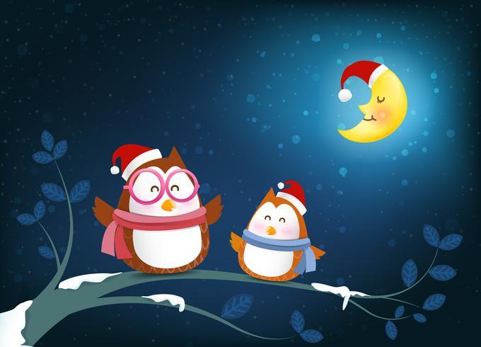 Sonrisa de dibujos animados de búhos en rama de árbol ramita y nieve que cae en la noche de invierno backgroud vector ilustración 001