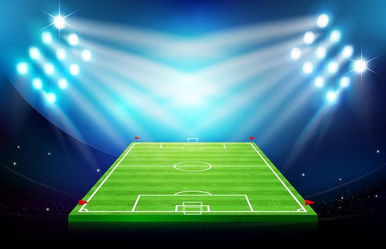 Cancha de futbol con estadio 002. vector