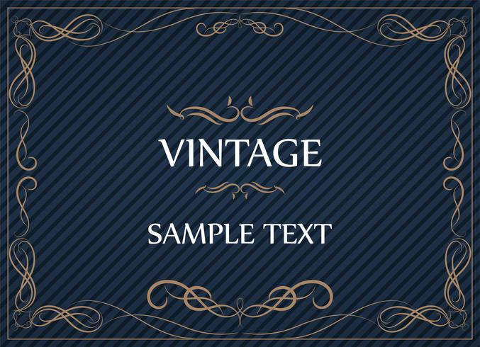 Vintage Ornament Greeting Card Vector Template and retro invitation design