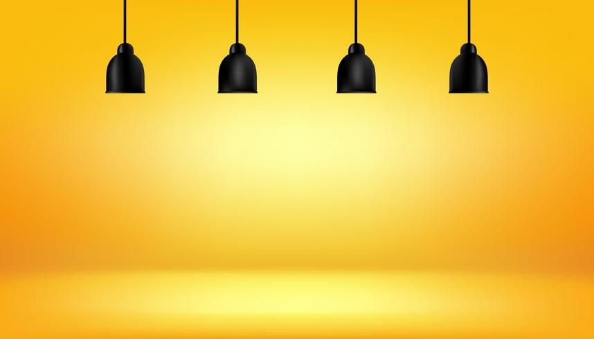 yellow background with light boxes on ceiling, abstract gradient studio and wall texture vector