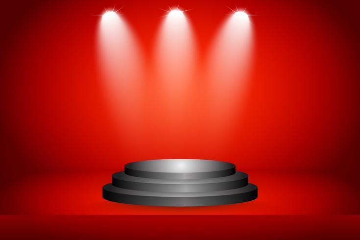 Stadium en presentatie van product met sportlicht op rode studioachtergrond