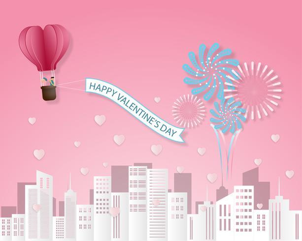 O papel criativo da ilustração do vetor do dia de Valentim do cartão do convite do amor cortou o fundo do estilo.