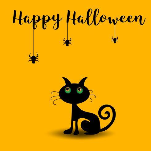 schwarze Katze auf orange Hintergrund, Halloween-Tag.