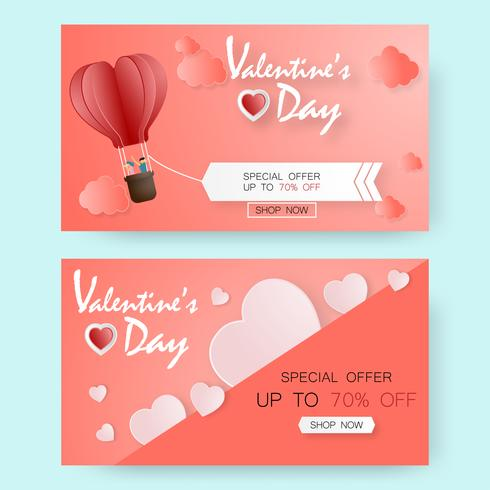 Creative valentine's day sale vector illustration paper cut. greeting card.