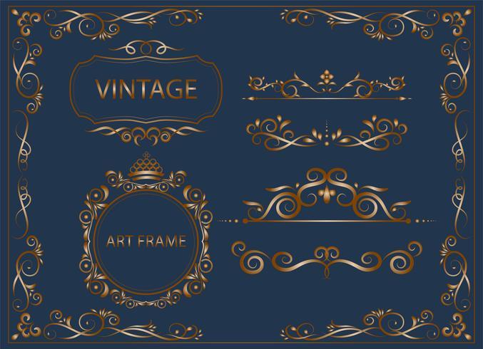Gold Vintage und klassische Ornamente setzen florale Elemente für Design