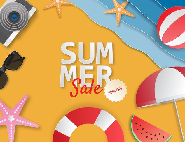 Creative illustration summer sale banner with paper cut style.