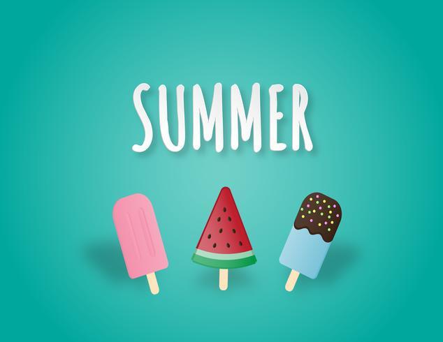 Postre creativo del ejemplo del vector con la fresa rosada, el chocolate azul de Hawaii y el helado de la sandía.