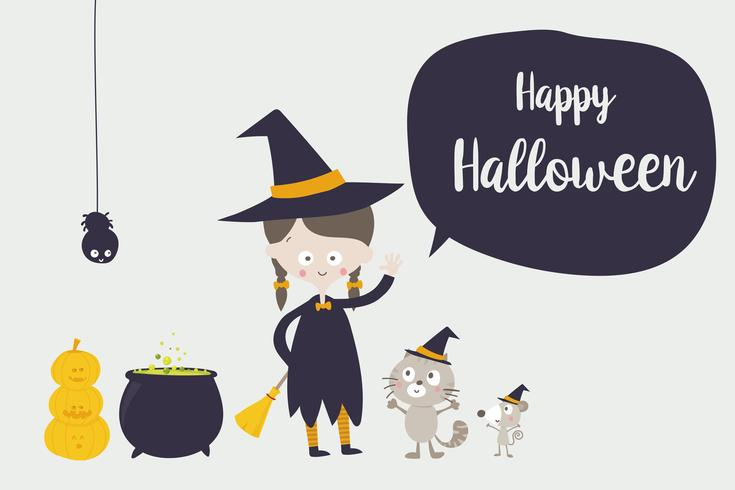 Cute witch cat spider and rat cartoon character 001