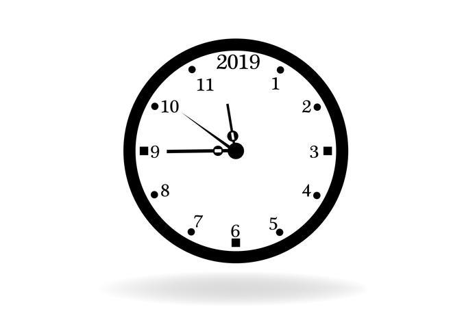 2019 tid klocka koncept isolerad på vit bakgrund