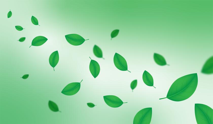 Creatieve groene illustratie de lente van het seizoen doorbladert decoratieve achtergrond.
