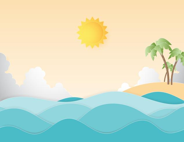 Creative illustration summer background concept paper cut style.