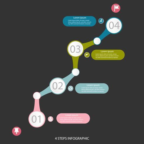 Bedrijfsgegevens infographic element, procesgrafiek met 4 stappen