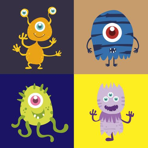 Conjunto de personaje de dibujos animados lindo monstruo 002