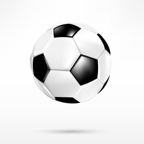 Ballon de foot 3D noir et blanc sur fond blanc 001