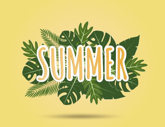 Creative illustration summer background with tropical leaves.