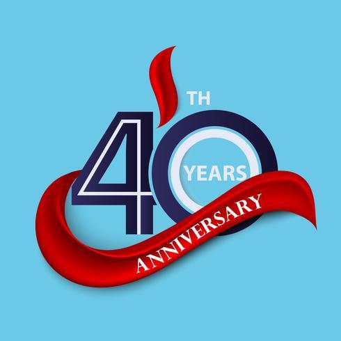 Signo de aniversario 40 y símbolo de celebración logo con cinta roja
