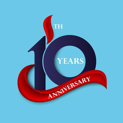 10th anniversary sign and logo celebration symbol with red ribbon
