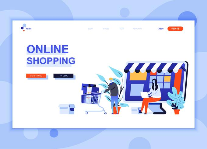 Il concetto di modello di progettazione di pagina web piatto moderno di Shopping Online ha decorato il carattere di persone per lo sviluppo di siti Web e siti Web mobili. Modello di pagina di destinazione semplice. Illustrazione vettoriale